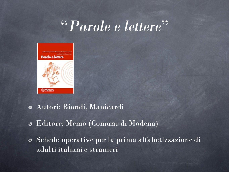 Parole e lettere Autori: Biondi, Manicardi