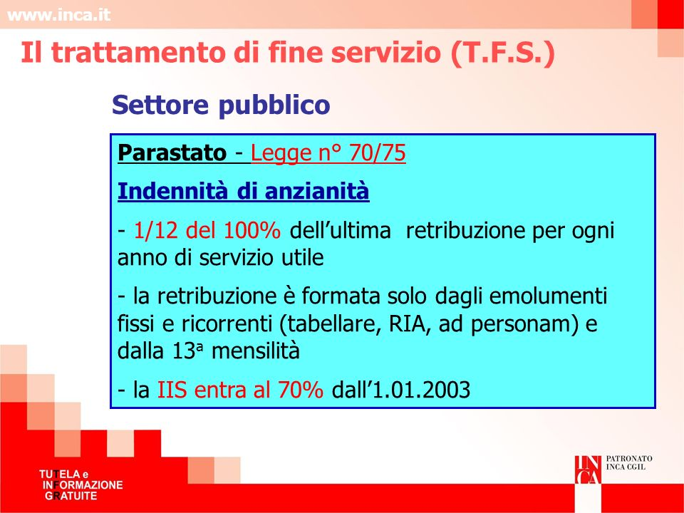 Il trattamento di fine servizio (T.F.S.)