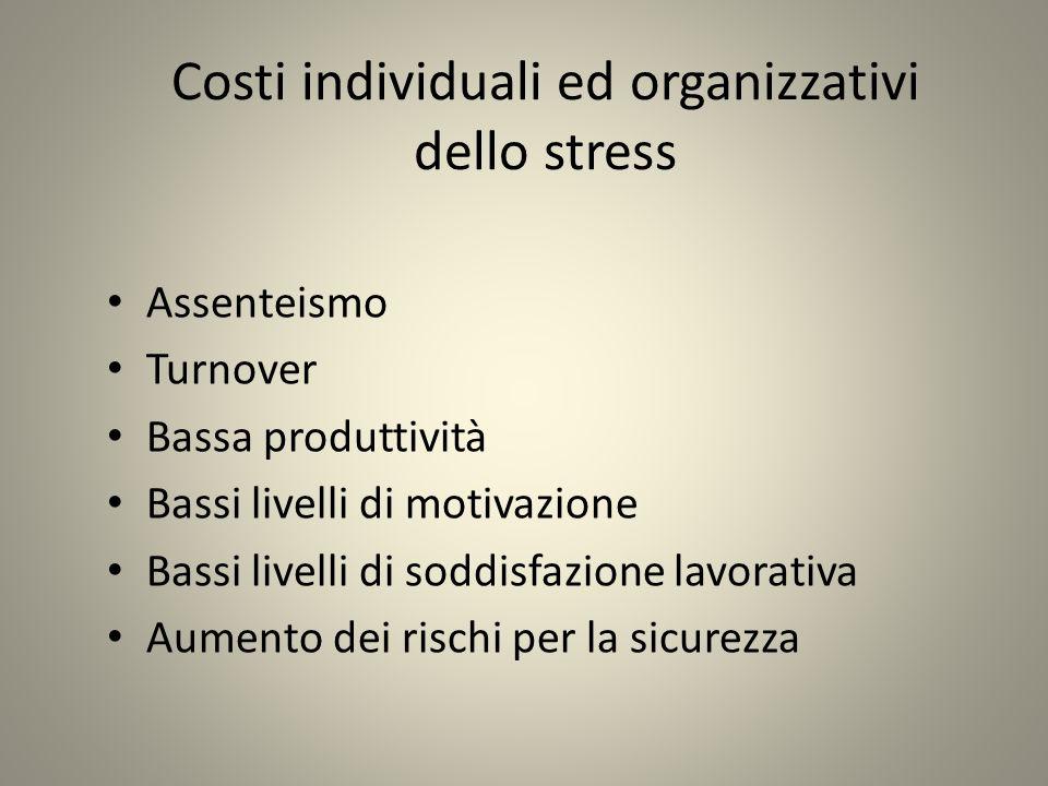 Costi individuali ed organizzativi dello stress