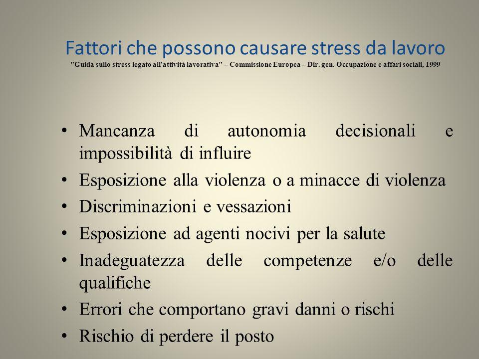 Fattori che possono causare stress da lavoro Guida sullo stress legato all attività lavorativa – Commissione Europea – Dir. gen. Occupazione e affari sociali, 1999
