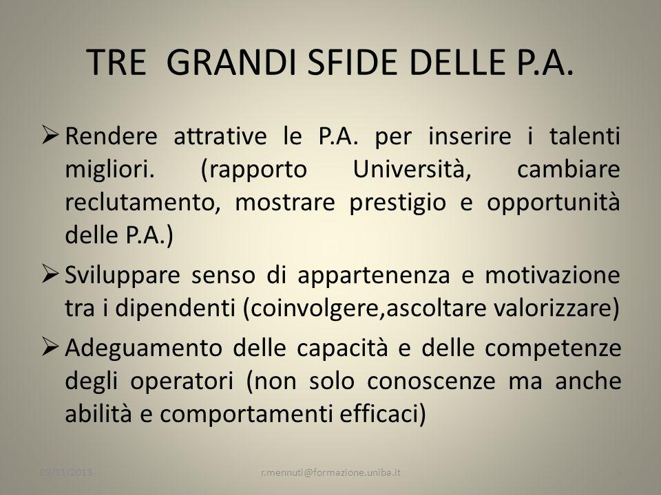 TRE GRANDI SFIDE DELLE P.A.