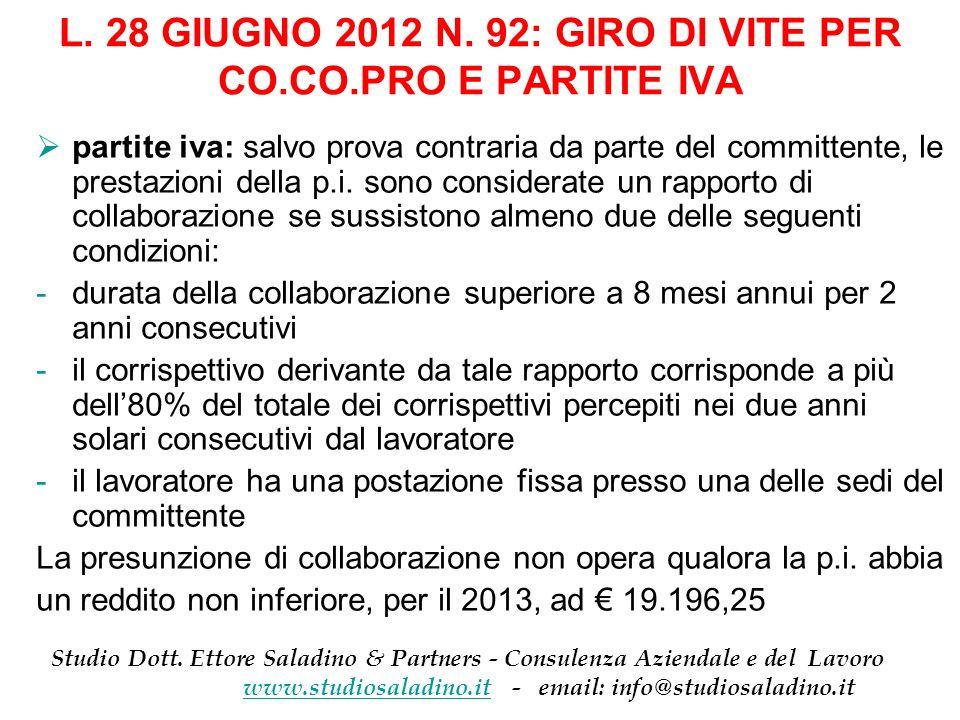 L. 28 GIUGNO 2012 N. 92: GIRO DI VITE PER CO.CO.PRO E PARTITE IVA