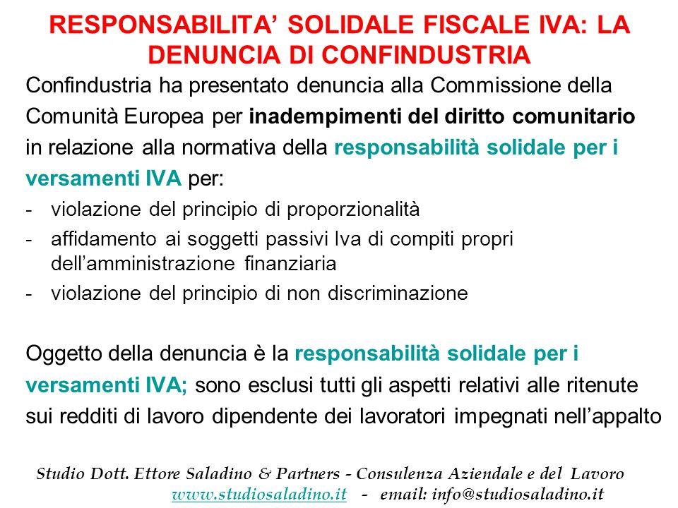 RESPONSABILITA' SOLIDALE FISCALE IVA: LA DENUNCIA DI CONFINDUSTRIA