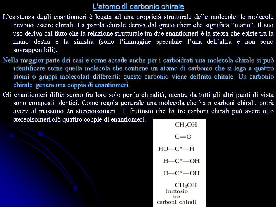 L atomo di carbonio chirale