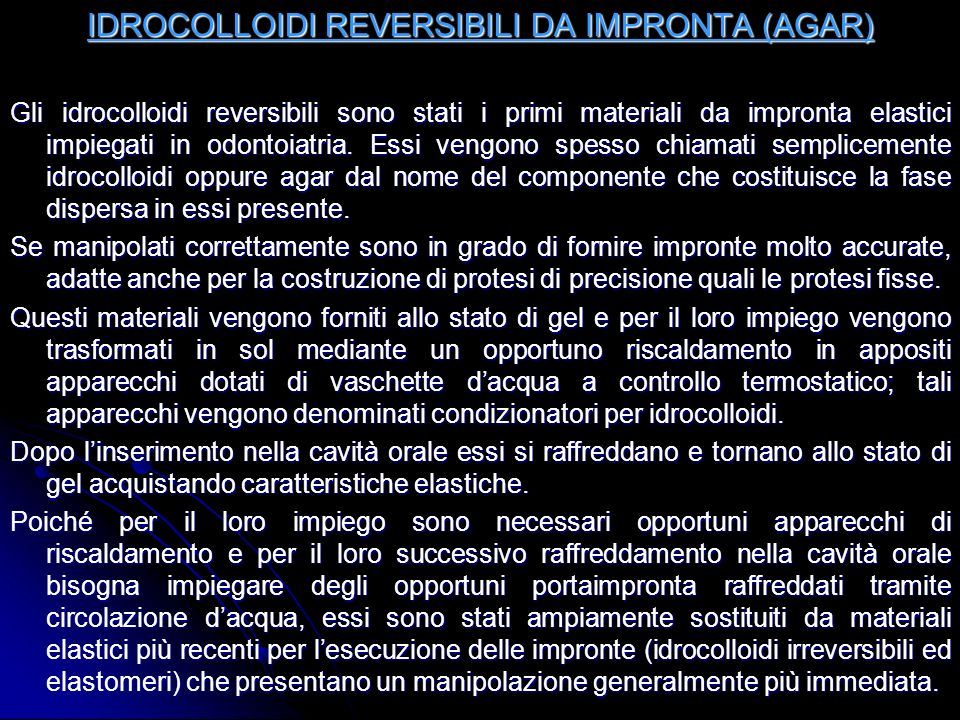 IDROCOLLOIDI REVERSIBILI DA IMPRONTA (AGAR)