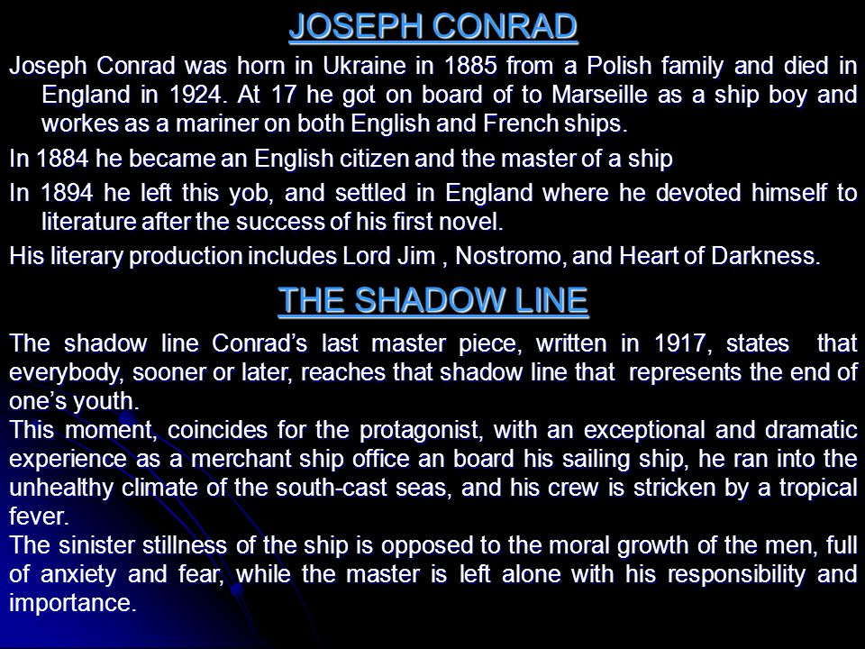 JOSEPH CONRAD THE SHADOW LINE