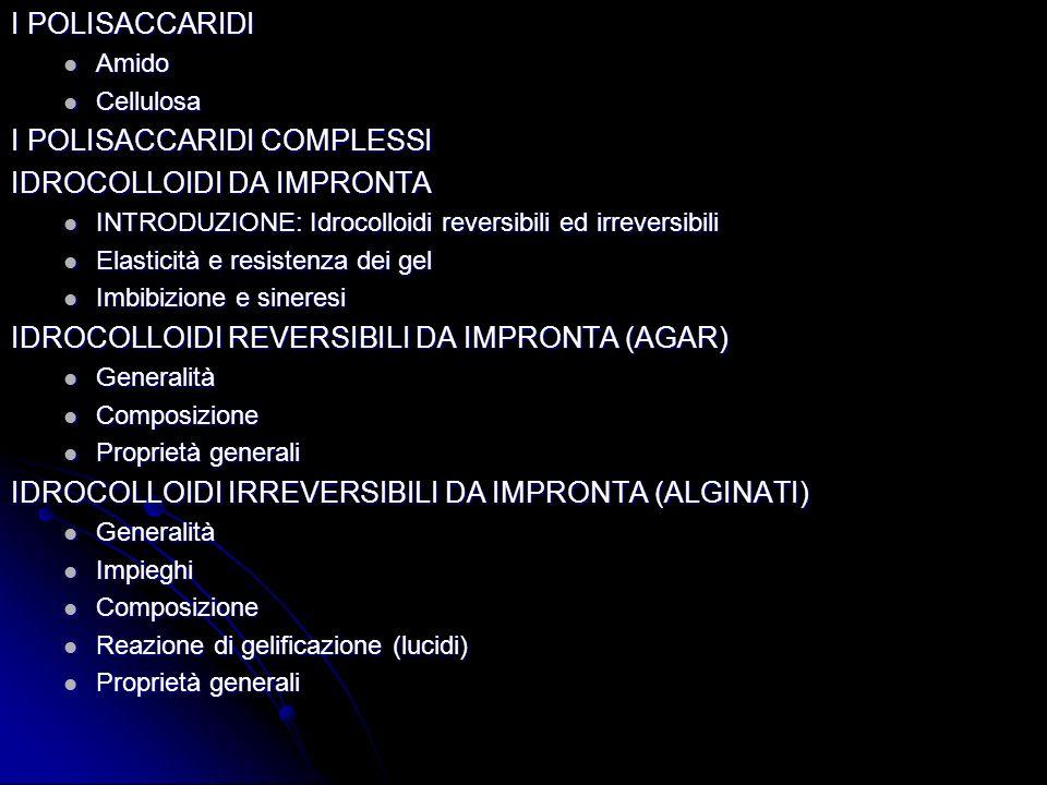 I POLISACCARIDI COMPLESSI IDROCOLLOIDI DA IMPRONTA