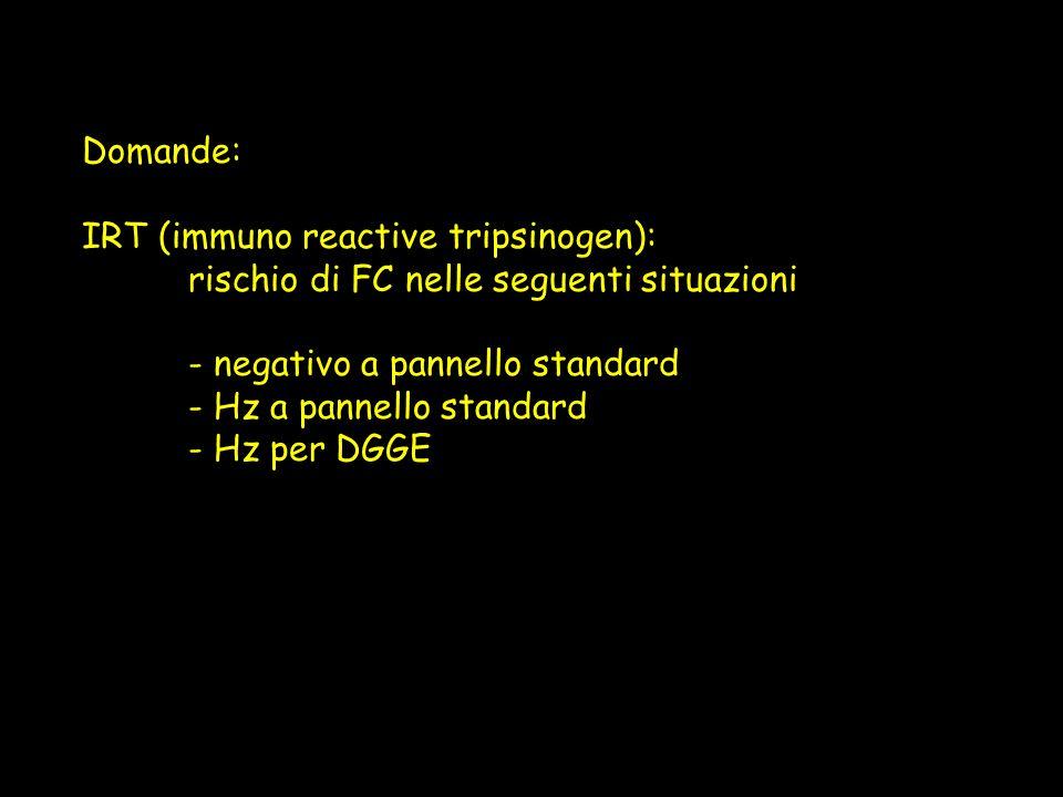 Domande:IRT (immuno reactive tripsinogen): rischio di FC nelle seguenti situazioni. - negativo a pannello standard.