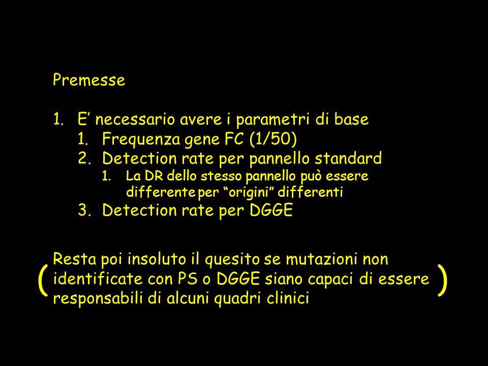 ( ) Premesse E' necessario avere i parametri di base