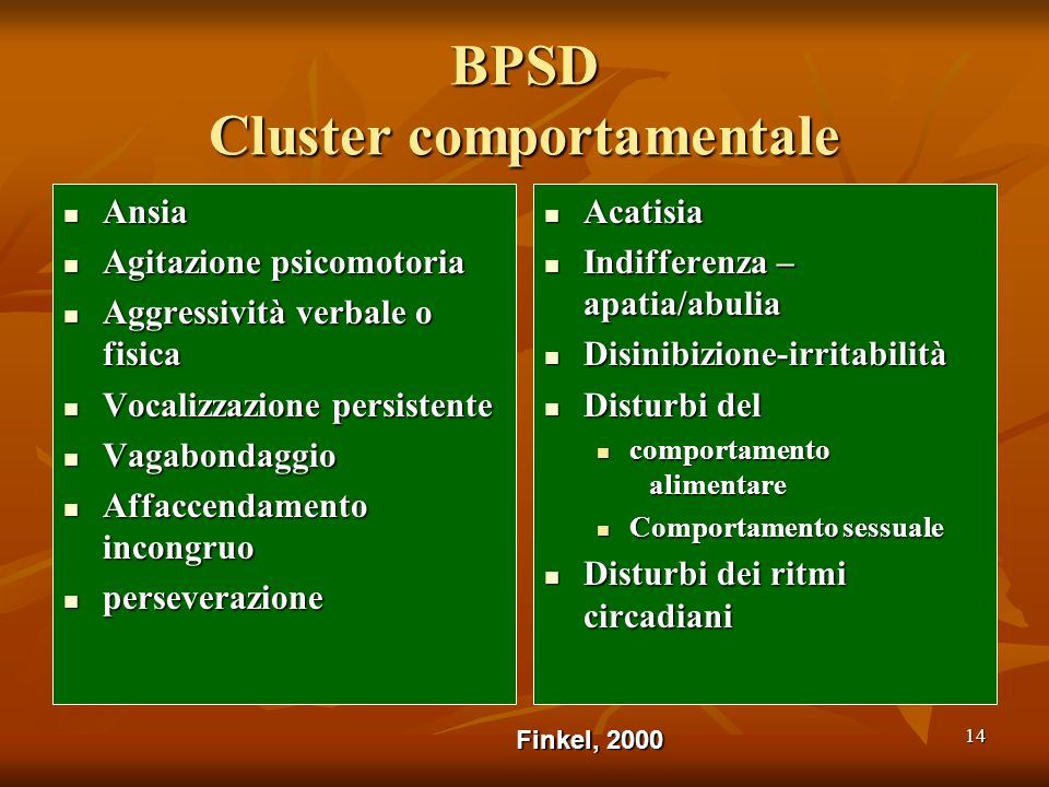 BPSD Cluster comportamentale