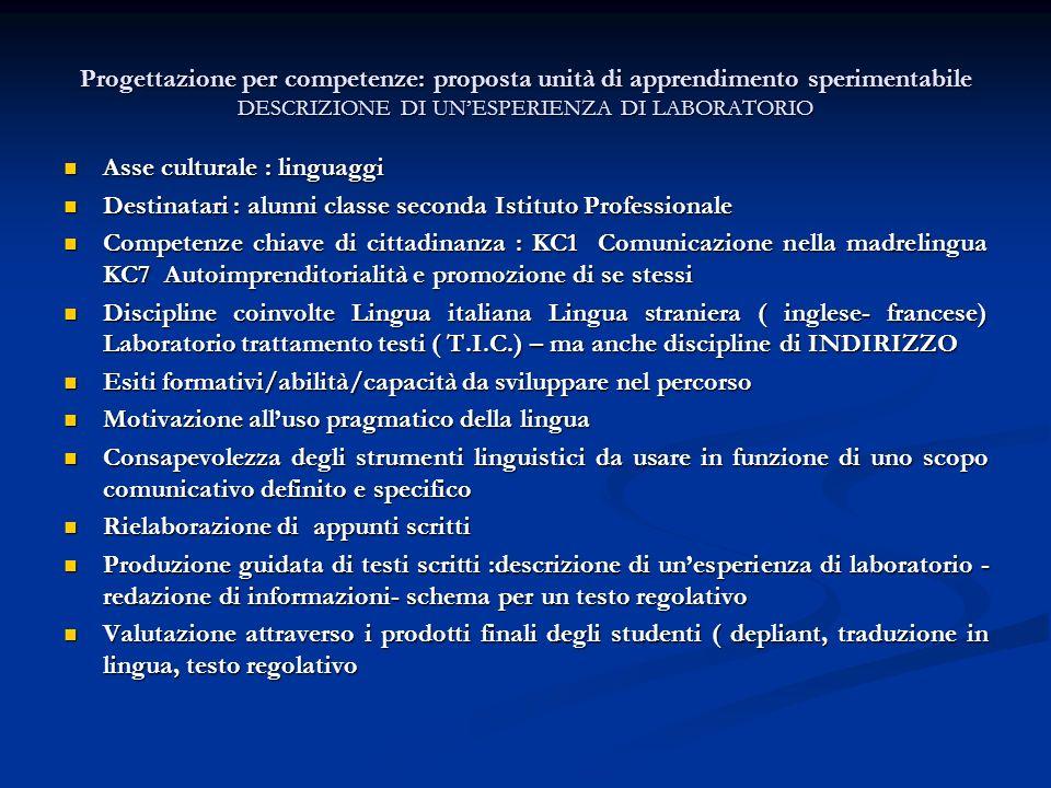 Progettazione per competenze: proposta unità di apprendimento sperimentabile DESCRIZIONE DI UN'ESPERIENZA DI LABORATORIO
