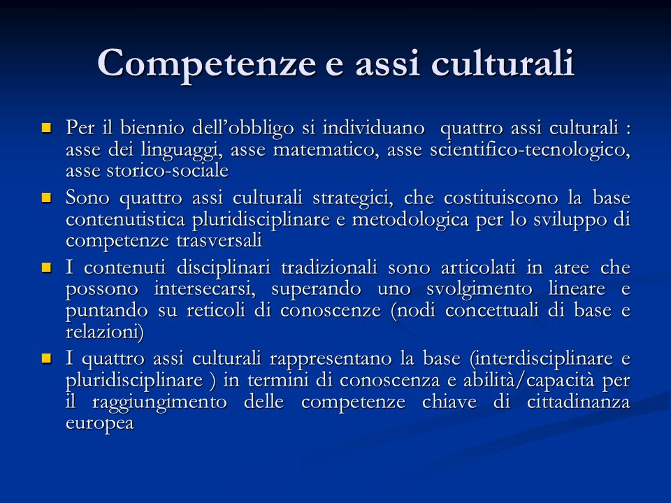Competenze e assi culturali