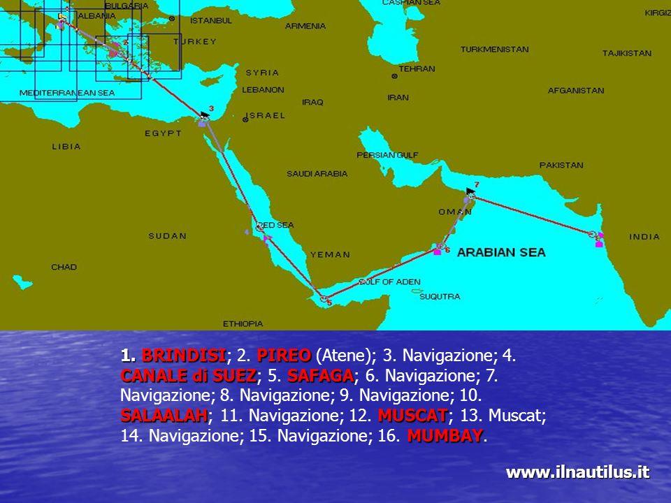 1. BRINDISI; 2. PIREO (Atene); 3. Navigazione; 4. CANALE di SUEZ; 5
