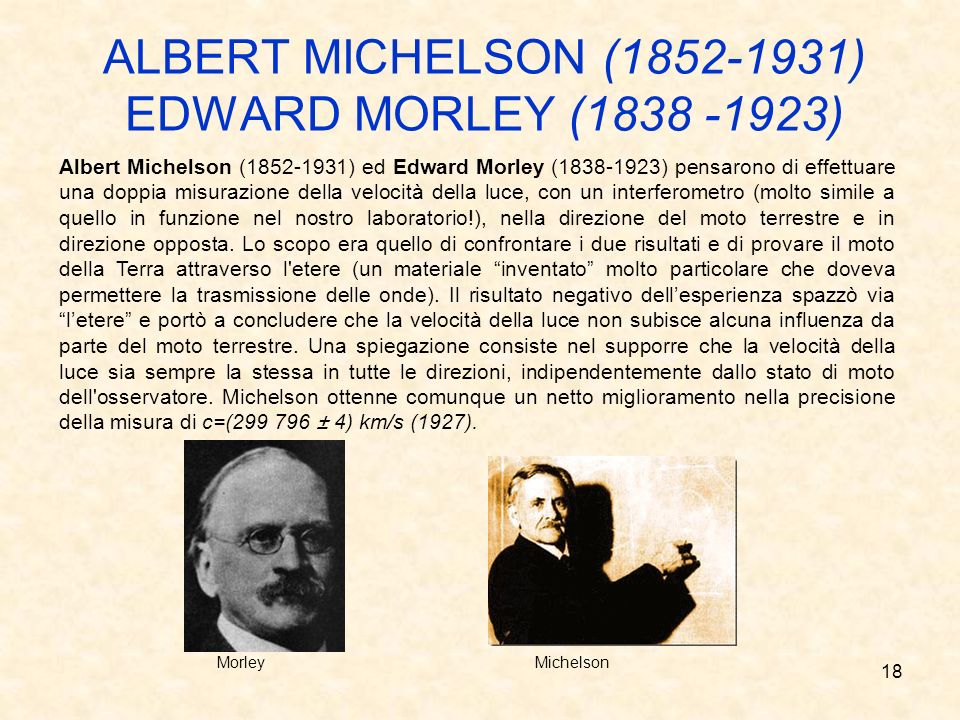 ALBERT MICHELSON (1852-1931) EDWARD MORLEY (1838 -1923)