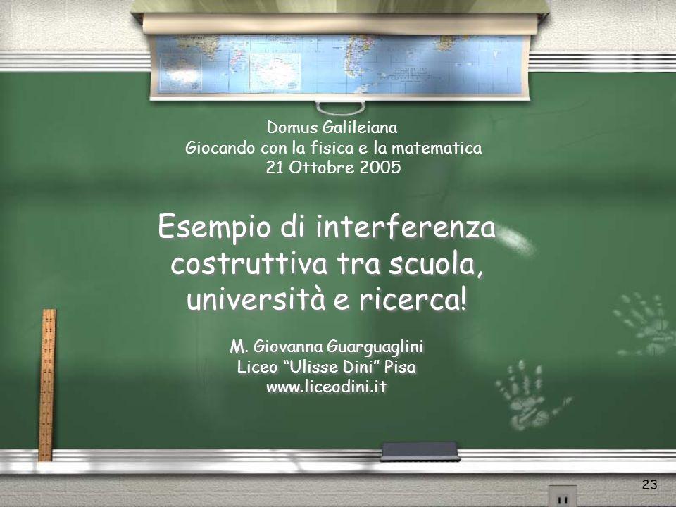 Esempio di interferenza costruttiva tra scuola, università e ricerca!