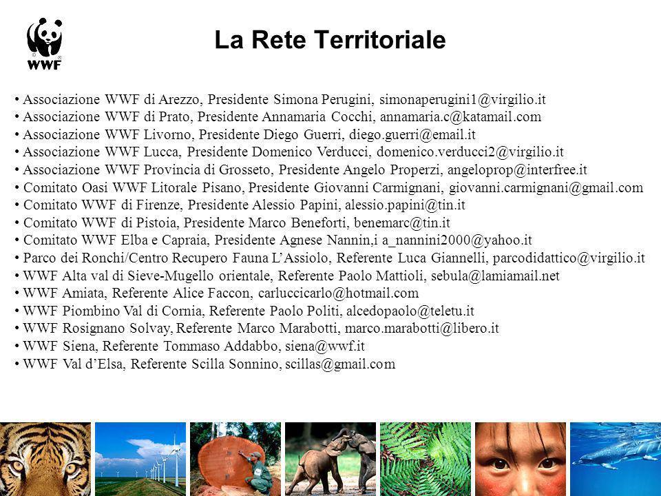 La Rete Territoriale • Associazione WWF di Arezzo, Presidente Simona Perugini, simonaperugini1@virgilio.it.