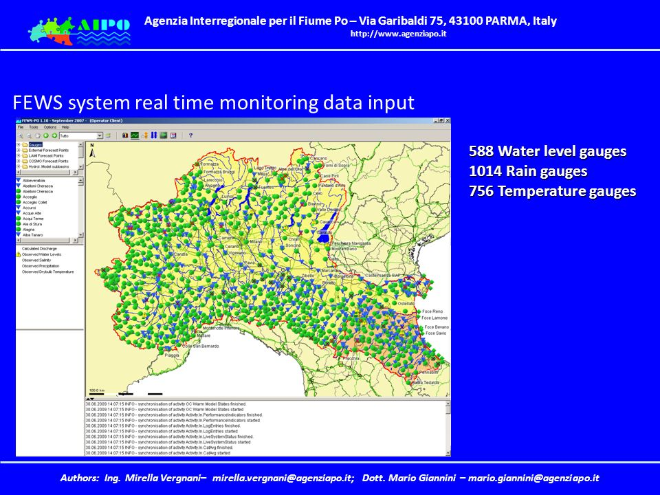 Water Level Monitoring System : Weather and water monitoring in the po basin forecasts