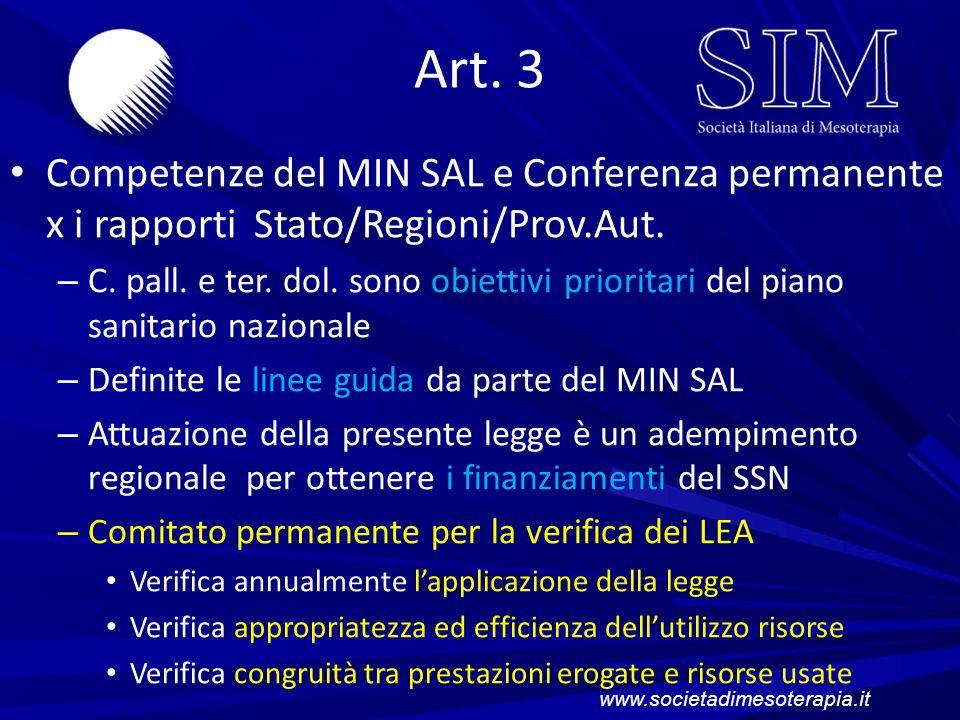 Art. 3 Competenze del MIN SAL e Conferenza permanente x i rapporti Stato/Regioni/Prov.Aut.