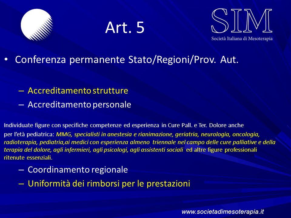 Art. 5 Conferenza permanente Stato/Regioni/Prov. Aut.