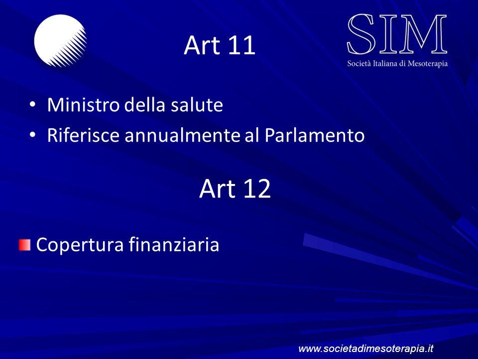 Art 11 Art 12 Ministro della salute