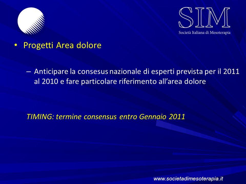 Progetti Area dolore Anticipare la consesus nazionale di esperti prevista per il 2011 al 2010 e fare particolare riferimento all'area dolore.
