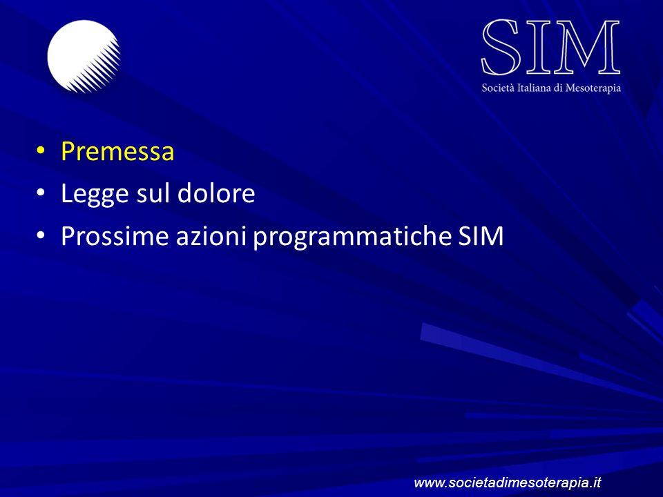 Prossime azioni programmatiche SIM