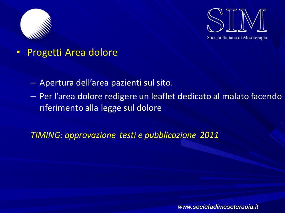 Progetti Area dolore Apertura dell'area pazienti sul sito.