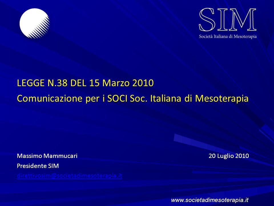 Comunicazione per i SOCI Soc. Italiana di Mesoterapia