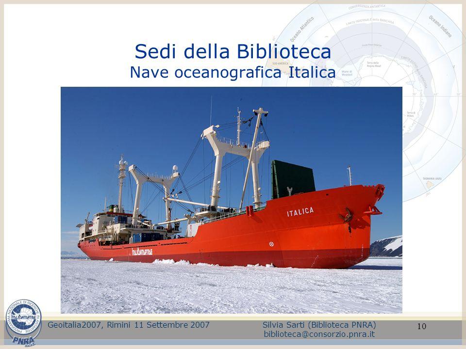 Sedi della Biblioteca Nave oceanografica Italica