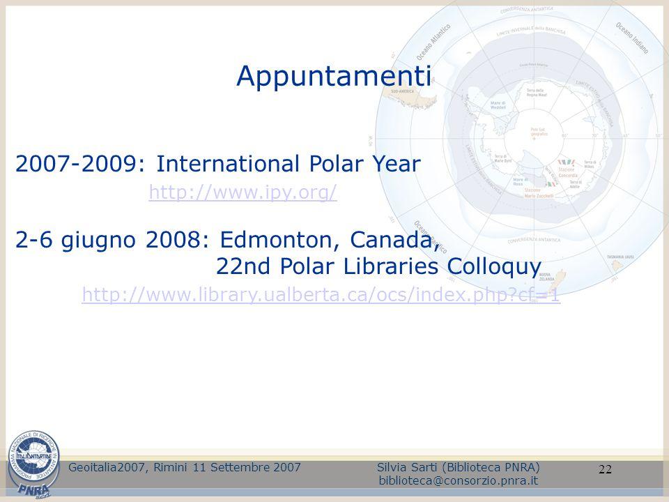 Appuntamenti 2007-2009: International Polar Year http://www.ipy.org/
