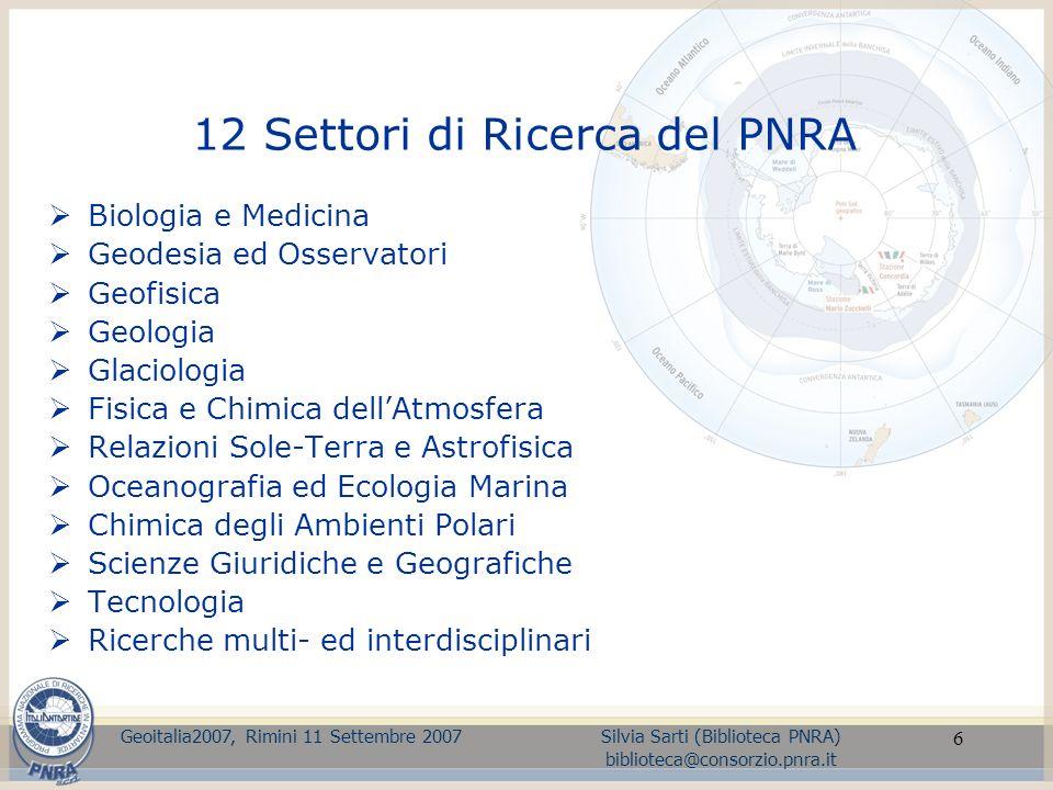 12 Settori di Ricerca del PNRA