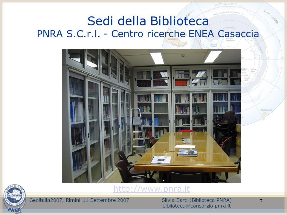 Sedi della Biblioteca PNRA S.C.r.l. - Centro ricerche ENEA Casaccia