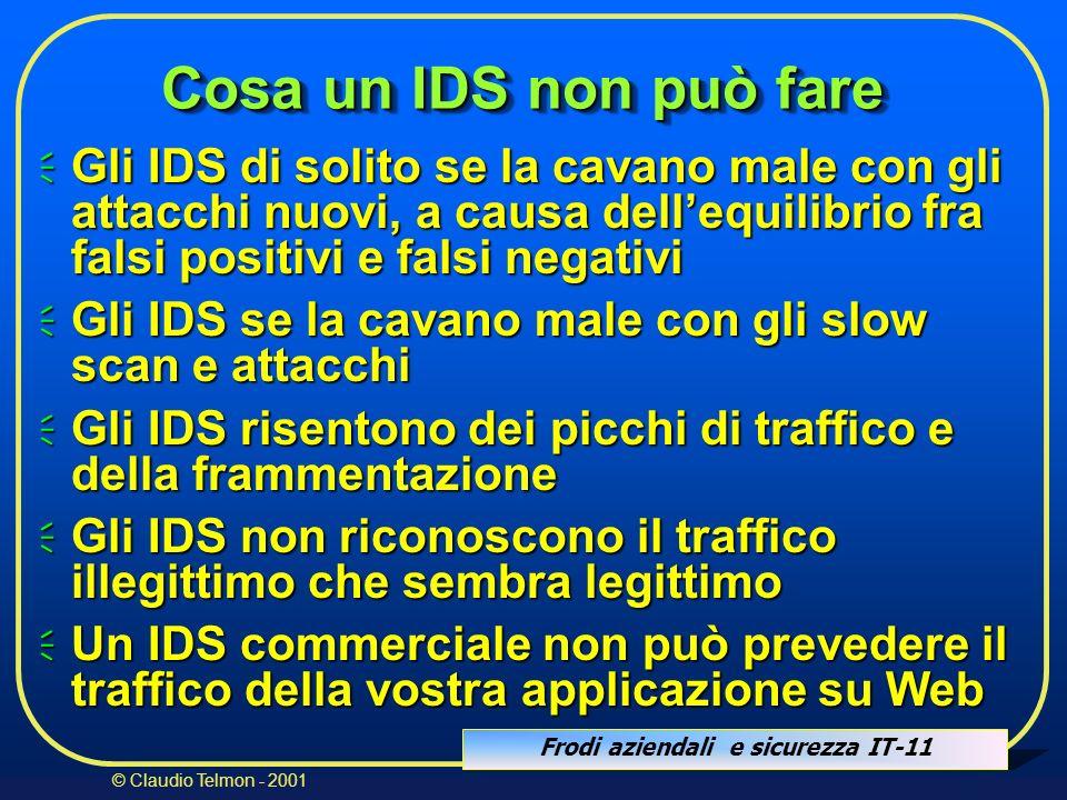Cosa un IDS non può fare Gli IDS di solito se la cavano male con gli attacchi nuovi, a causa dell'equilibrio fra falsi positivi e falsi negativi.