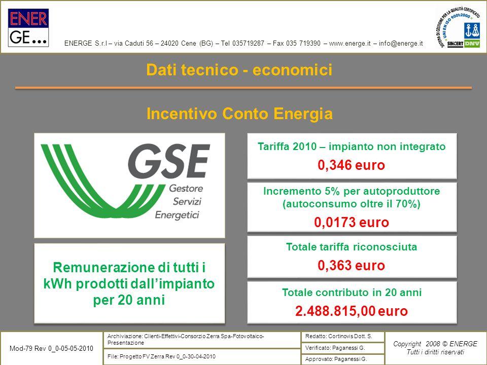 Dati tecnico - economici Incentivo Conto Energia