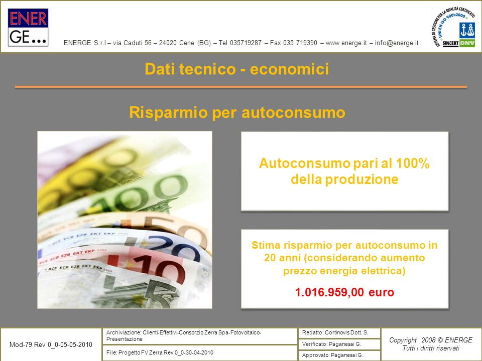 Dati tecnico - economici Risparmio per autoconsumo