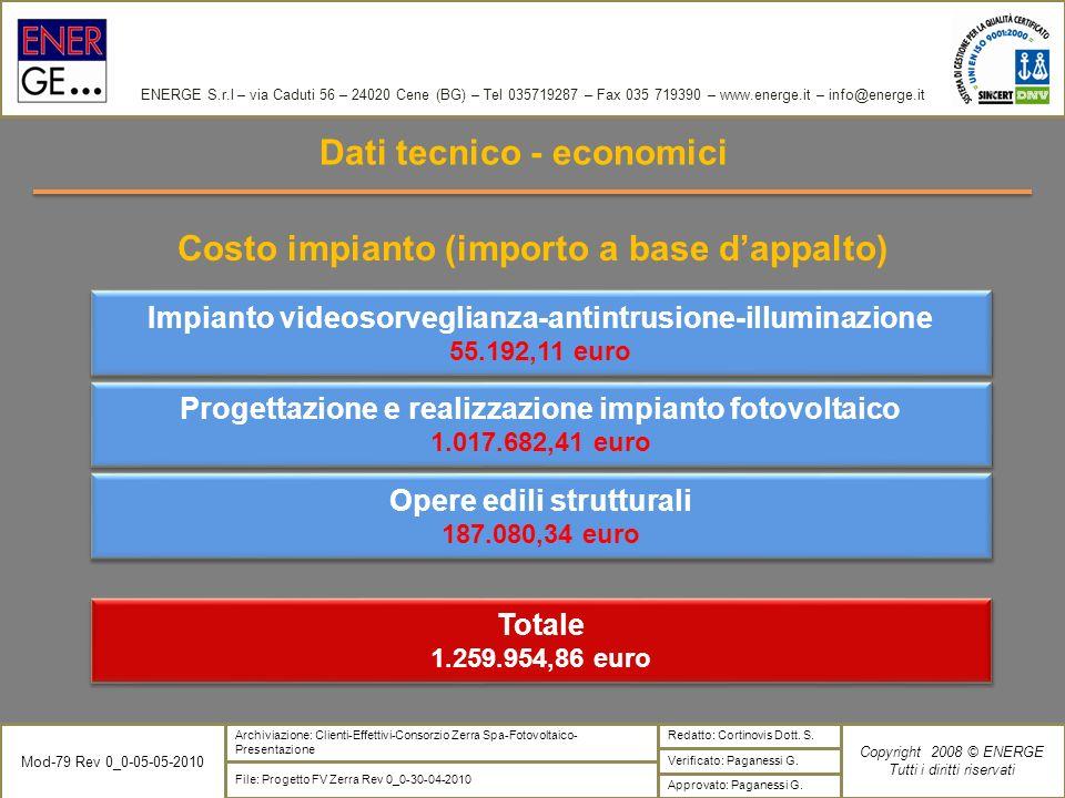 Dati tecnico - economici Costo impianto (importo a base d'appalto)