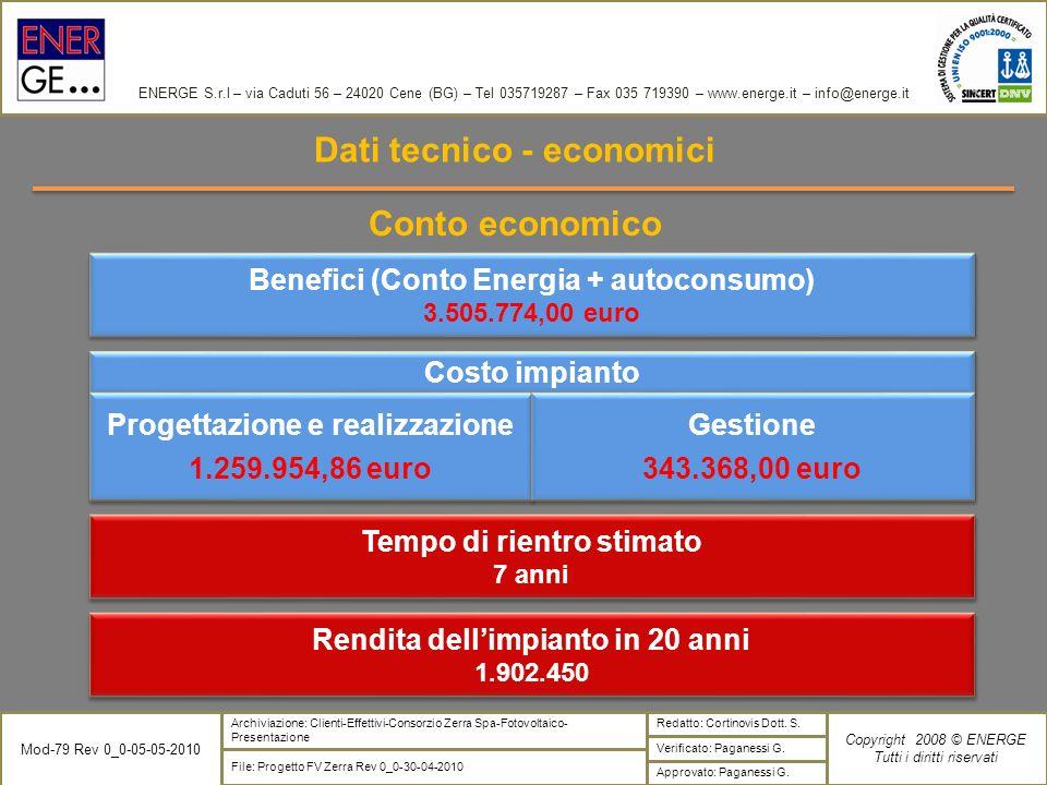 Dati tecnico - economici Conto economico