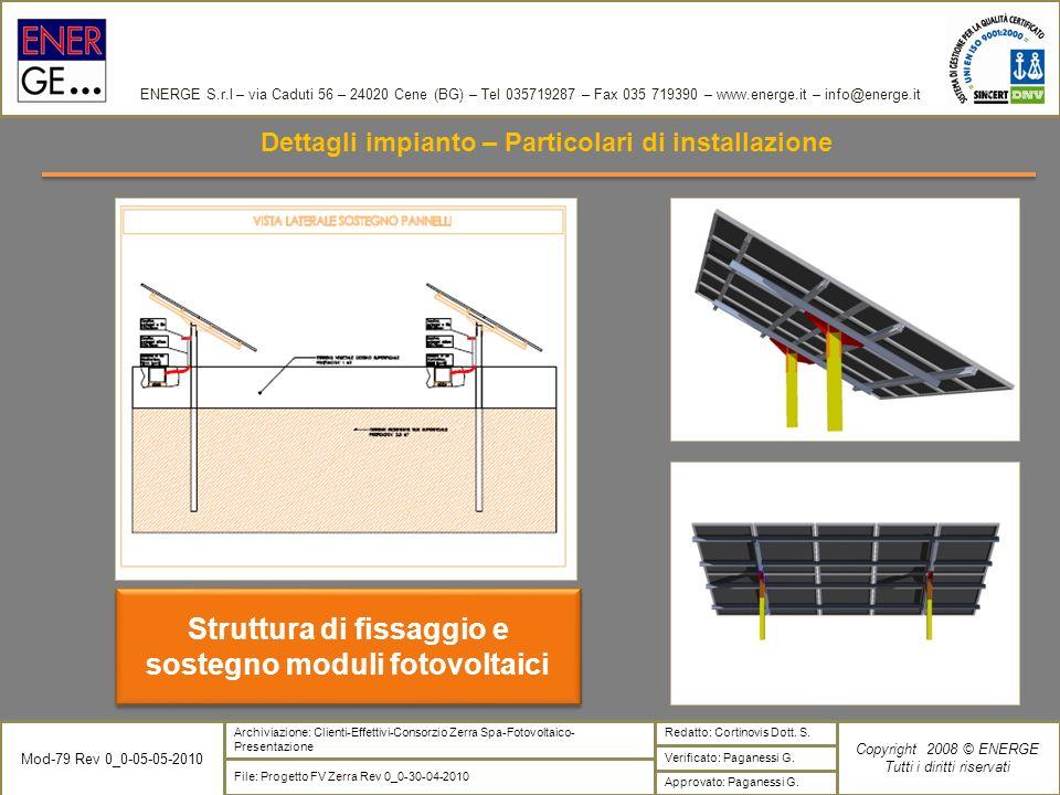 Struttura di fissaggio e sostegno moduli fotovoltaici
