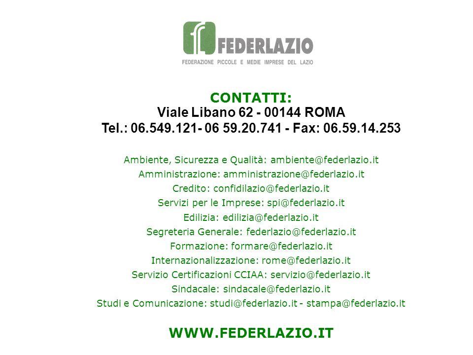 CONTATTI:Viale Libano 62 - 00144 ROMA Tel.: 06.549.121- 06 59.20.741 - Fax: 06.59.14.253. Ambiente, Sicurezza e Qualità: ambiente@federlazio.it.