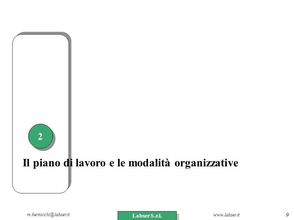 Il piano di lavoro e le modalità organizzative