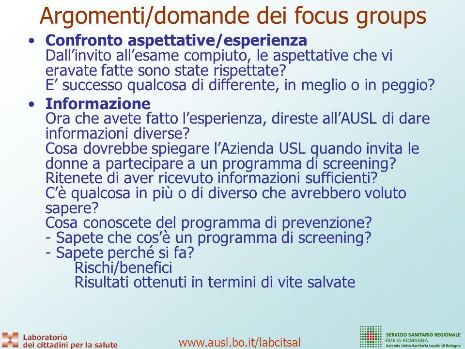 Argomenti/domande dei focus groups
