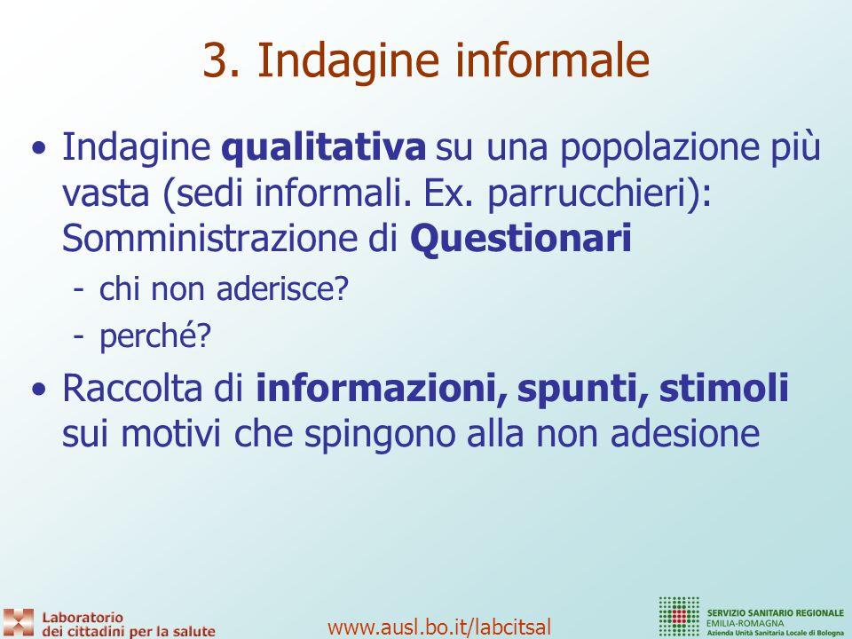 3. Indagine informale Indagine qualitativa su una popolazione più vasta (sedi informali. Ex. parrucchieri): Somministrazione di Questionari.
