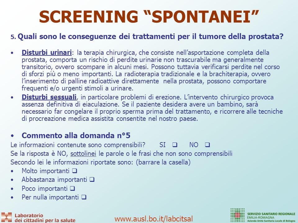 SCREENING SPONTANEI