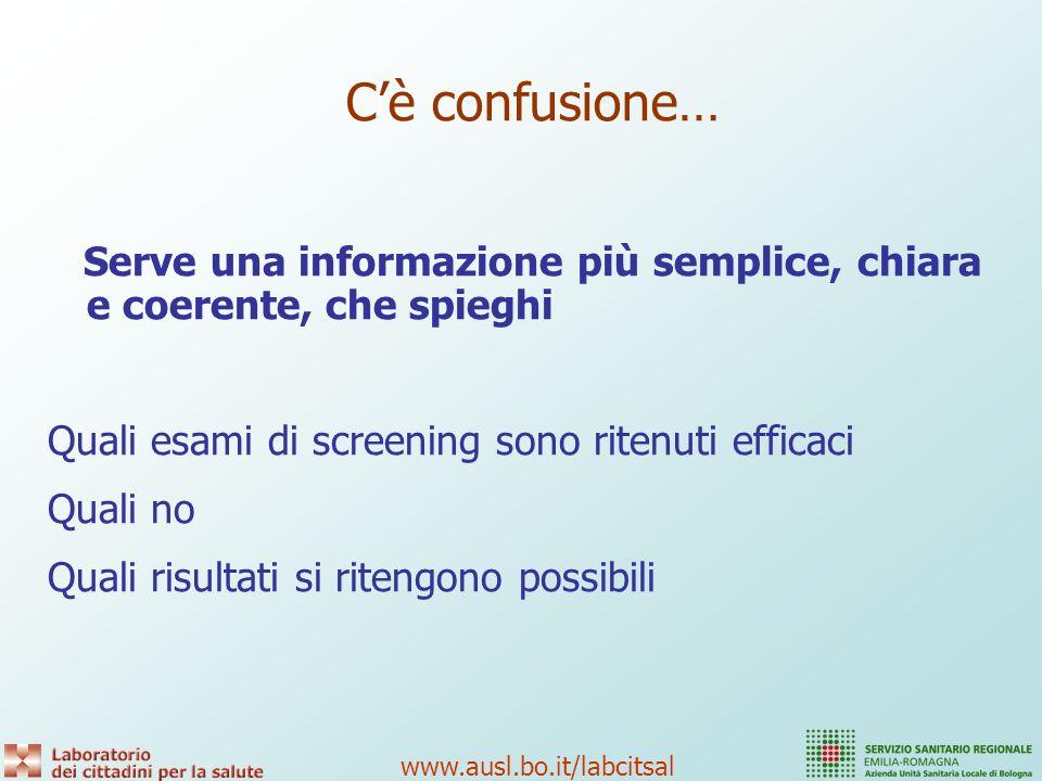 C'è confusione… Serve una informazione più semplice, chiara e coerente, che spieghi. Quali esami di screening sono ritenuti efficaci.