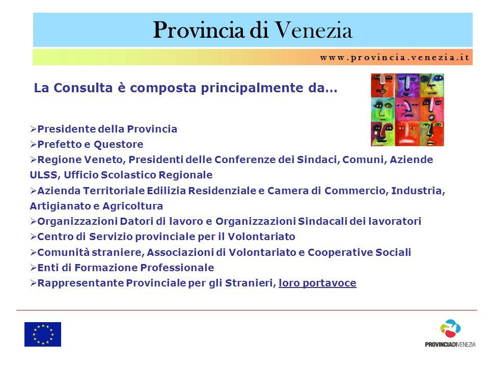 Provincia di Venezia La Consulta è composta principalmente da…