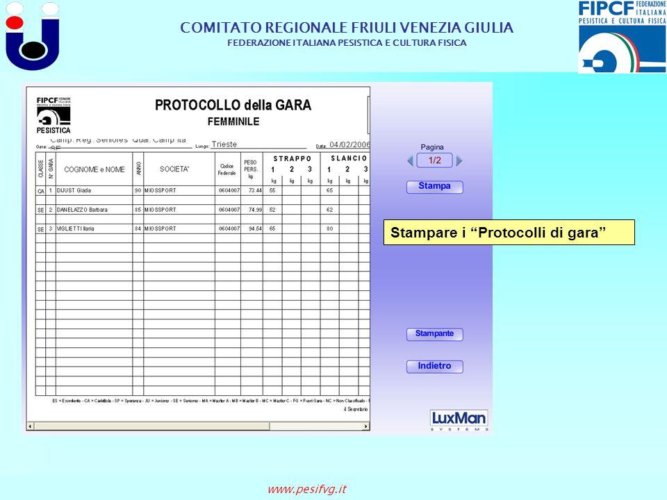 Stampare i Protocolli di gara
