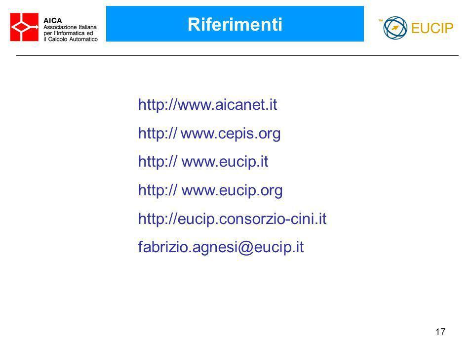 Riferimenti http://www.aicanet.it http:// www.cepis.org