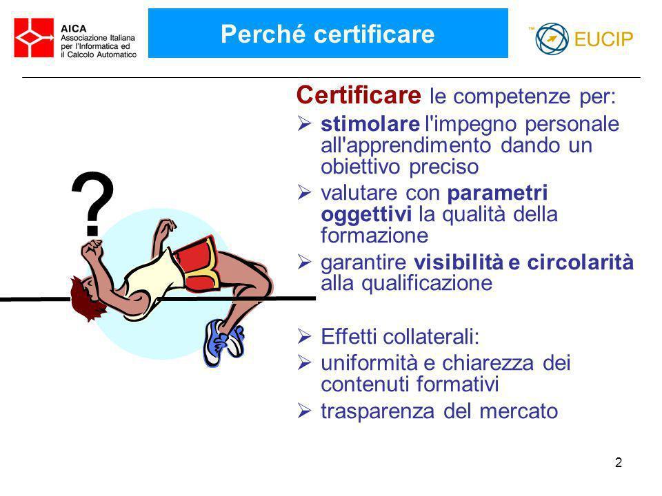 Perché certificare Certificare le competenze per: