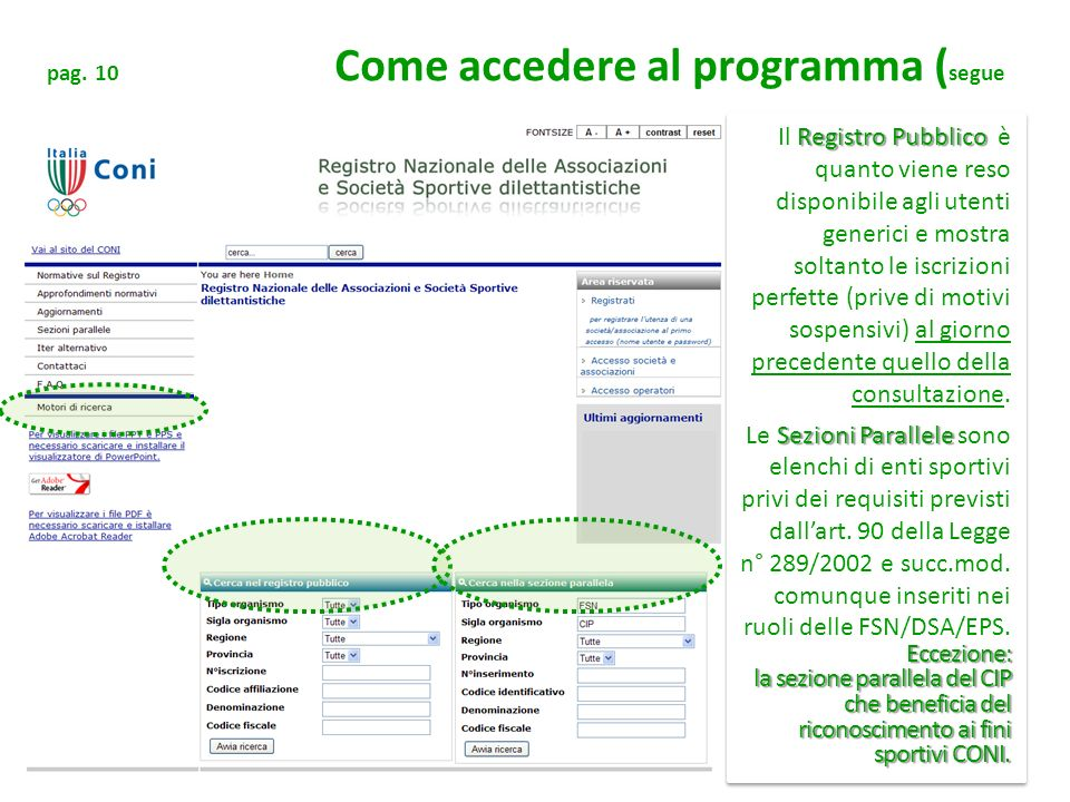 pag. 10 Come accedere al programma (segue