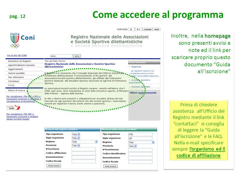 pag. 12 Come accedere al programma